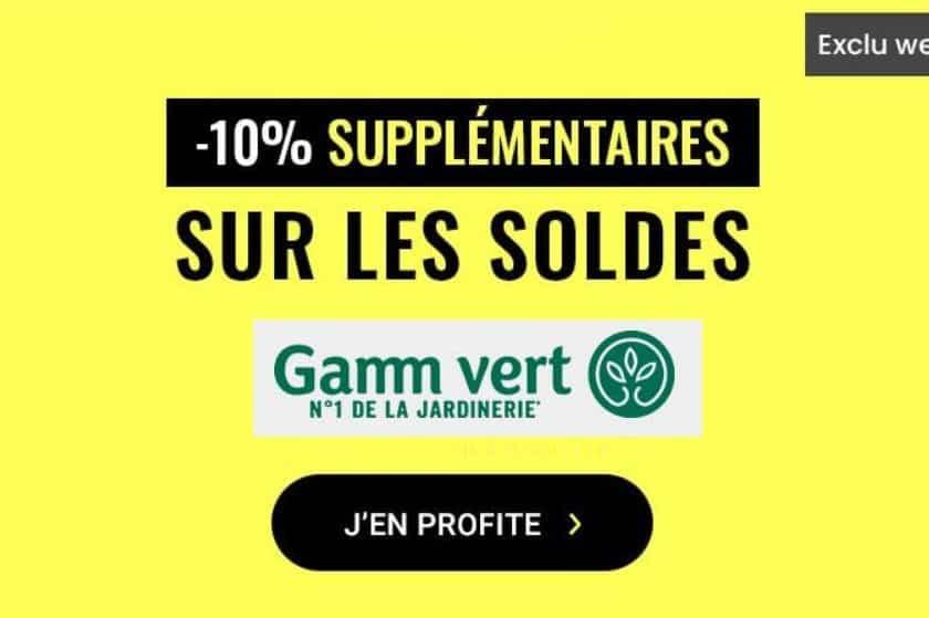remise supplémentaire sur les soldes Gamm Vert