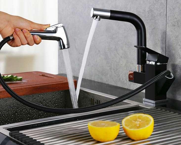 robinet de cuisine mitigeur noir avec douchette séparée Homelody