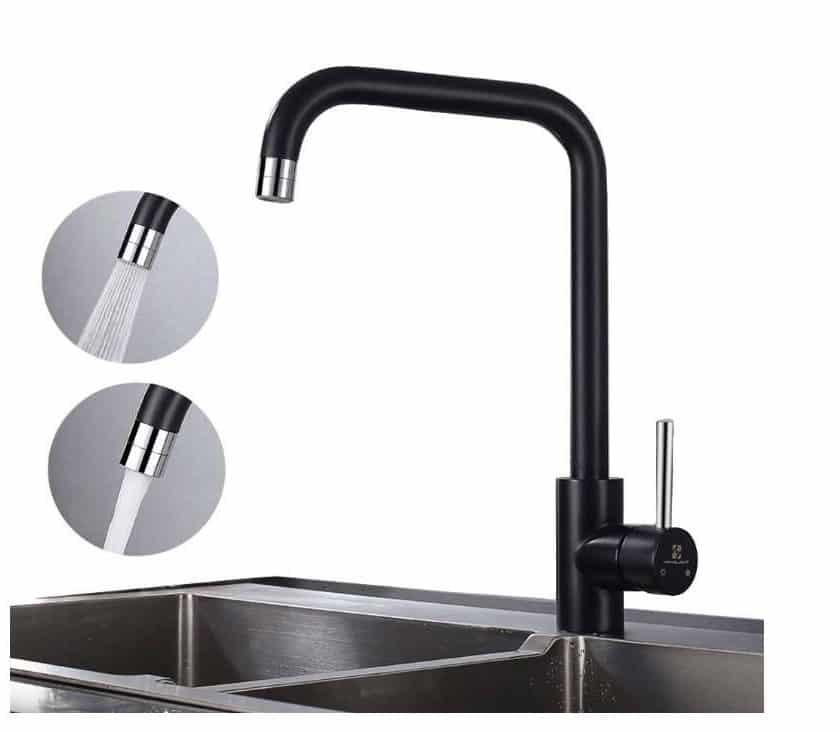robinet de cuisine noir mat pivotant 2 jets Homelody
