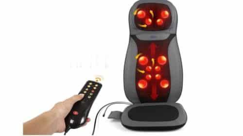 siège massant Shiatsu chauffant massant - 12 boules de massage dos, cou, assise avec télécommande