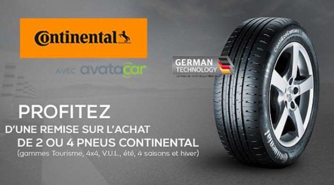 20€ à 120€ de remise immédiate sur les pneus Continental