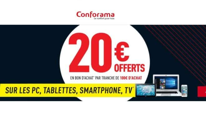 20€ offerts par tranche de 100€ d'achat de PC, Tablette, Téléphonie et TV