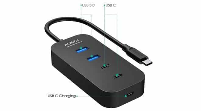 HUB 5 Ports USB Aukey CB-C48 2 USB 3.0 + 2 USB C + 1 USB C avec PD