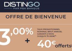 PSA Banque : livret d'épargne Distingo à 3% (non bloqué / sans frais gestion ni clôture / placement sécurisé)