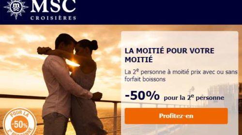 croisière MSC Croisières à moitié prix pour la deuxième personne