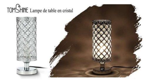 lampe de chevet cristal et métal Tomshine