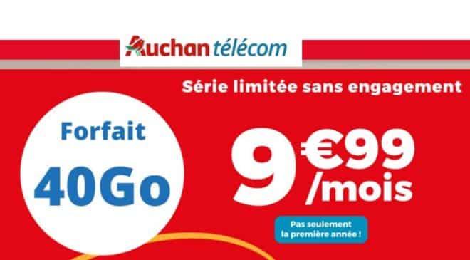 Forfait 40Go Auchan Telecom 9,99€ par mois