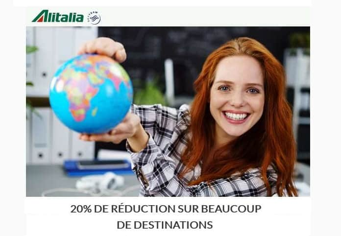 réduction sur beaucoup de destinations Alitalia
