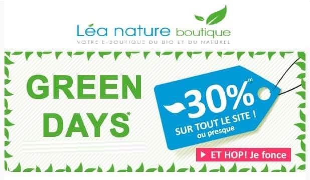 remise sur tout le site Lea Nature - Green Days