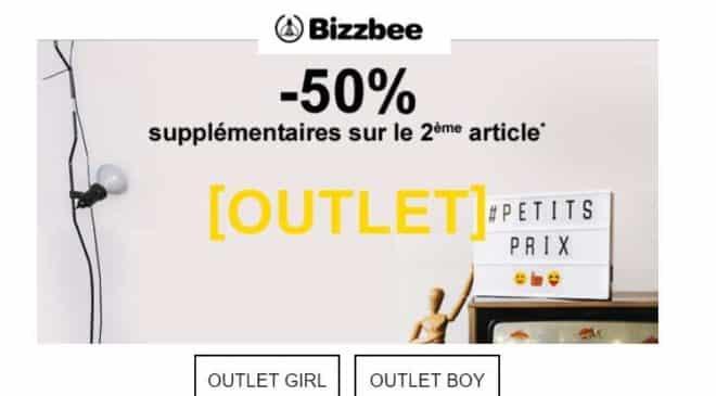 1 article Outlet Bizzbee acheté = 50% de remise supplémentaire sur le second