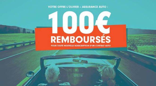 100€ remboursés par L'olivier – assurance auto pour toute souscription d'un contrat assurance