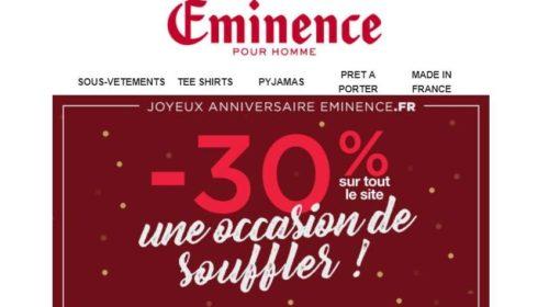 30% de réduction sur tous le site Eminence