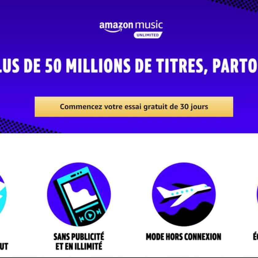 30 jours d'abonnement Amazon Music Unlimited gratuits