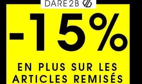 15% de remise sur les articles Dare 2B en promotions