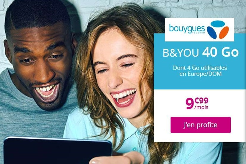 Abonnement 40Go B&YOU à 9,99€