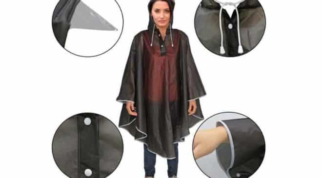 Poncho anti-pluie à capuche mixte Trehai