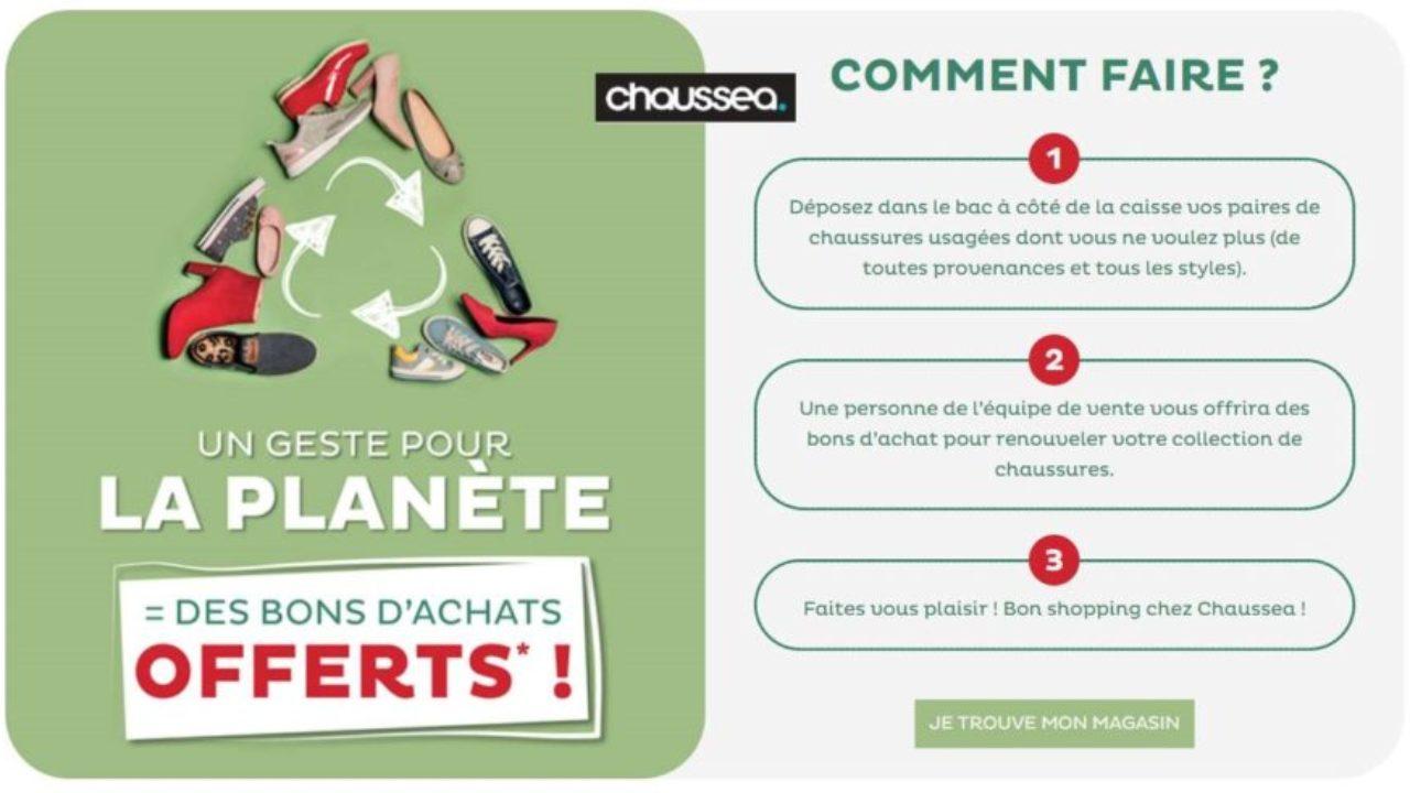 f9fa3017522f4 ♻ Ramenez vos vieilles chaussures chez Chaussea vous obtiendrez un bon  d achat (de 6€ à 20€)