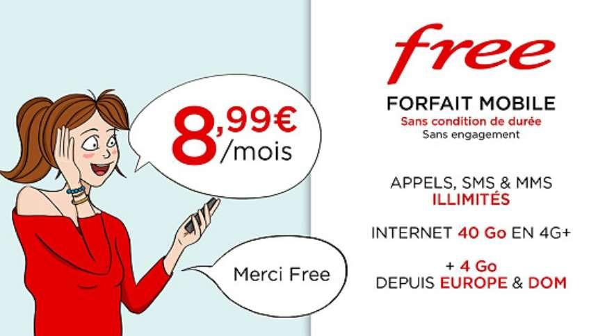 vente priv e forfait free mobile sur veepee 8 99 les 40go avec appels sms en illimit vie