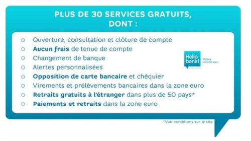 Vente privée services gratuits Hello Bank