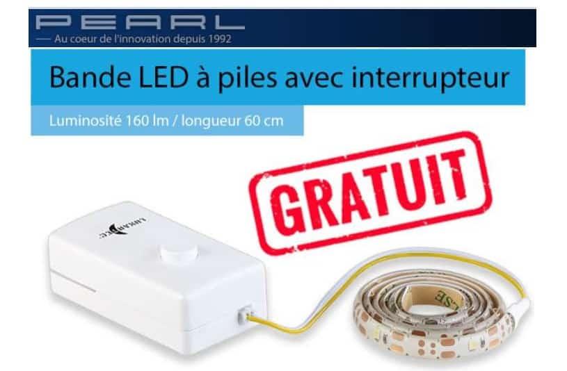 bande LED 60 cm adhésive à piles Lunartec gratuite sur Pearl