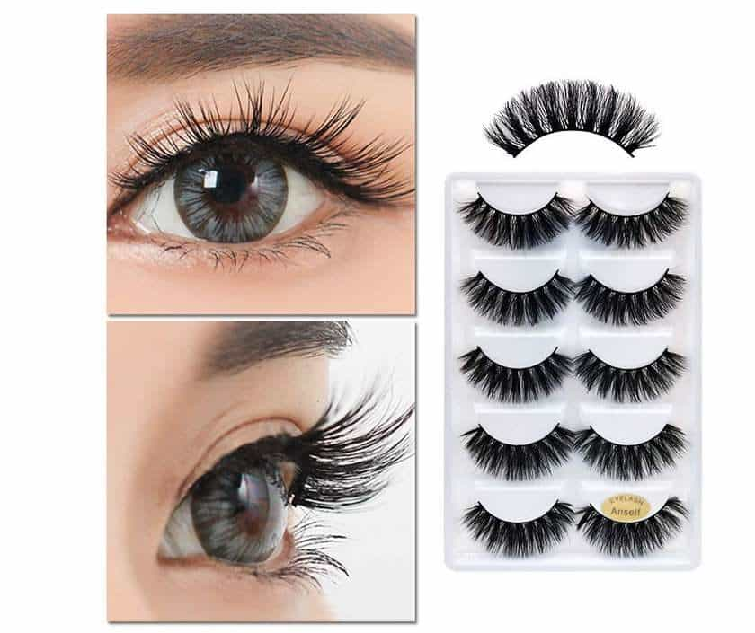 lot de 5 paires de faux cils 3D réutilisables Anself