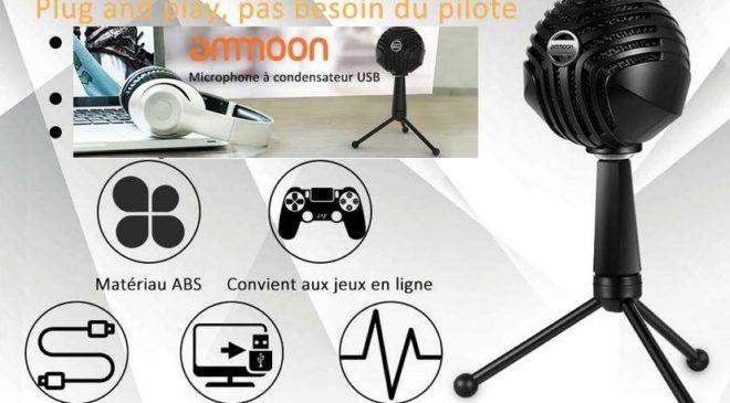 microphone filaire pro à condensateur Ammoon avec trépied