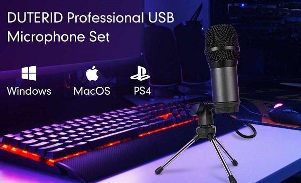 microphone filaire pro à condensateur avec trépied (usb)