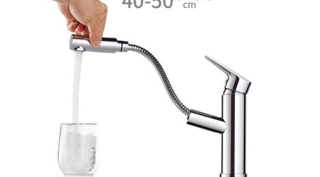 robinet mitigeur cuisine – salle de bain avec douchette extractible Desfau