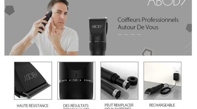 tondeuse pro Abody sans fils (avec 2 batteries) pour cheveux et barbe