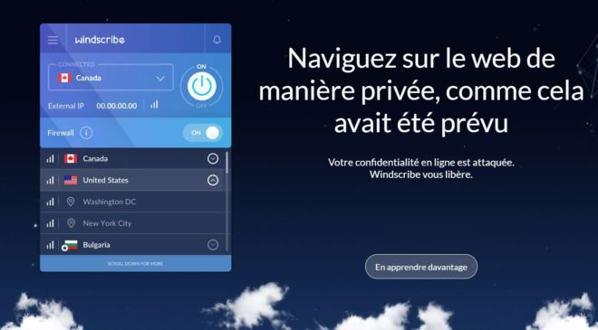 Abonnement Windscribe VPN gratuit pendant 1 an