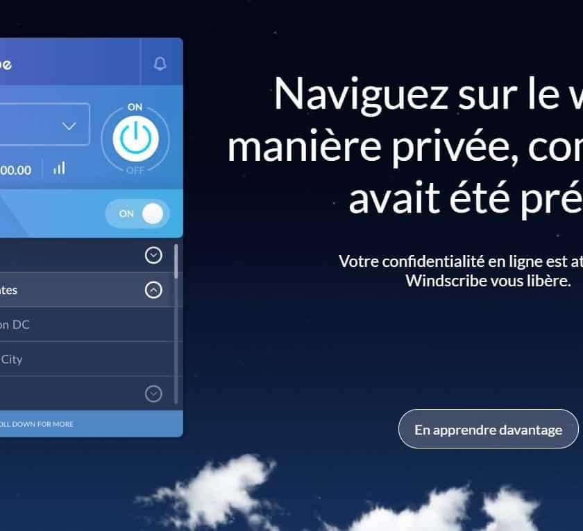 Abonnement Windscribe VPN gratuit pendant 1 an