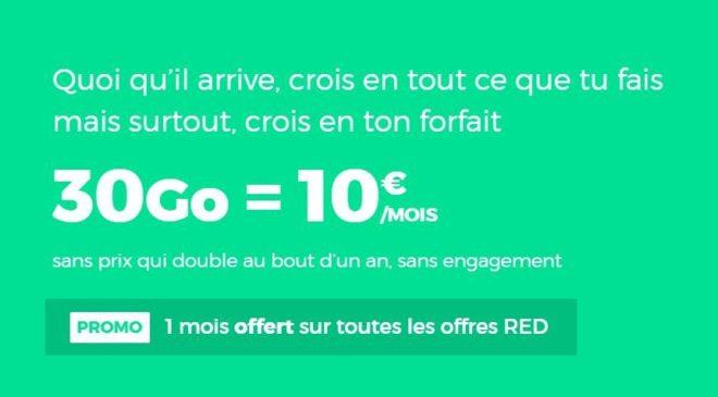 Bon plan 1 mois gratuit et forfait 30Go RED SFR à seulement 10€