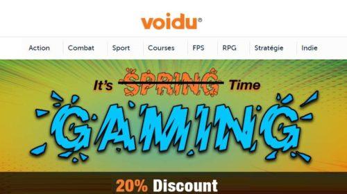 Bon plan jeu vidéo PC avec 20% de remise sur tout le site Voidu