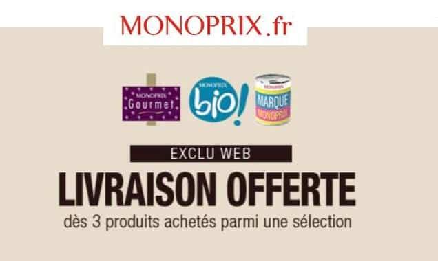 Livraison offerte si achat de 3 produits Monoprix