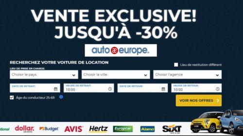 Location de voiture moins chère remise sur Auto Europe