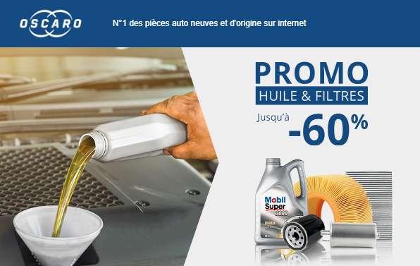 Promo huiles et filtres de vidanges sur Oscaro