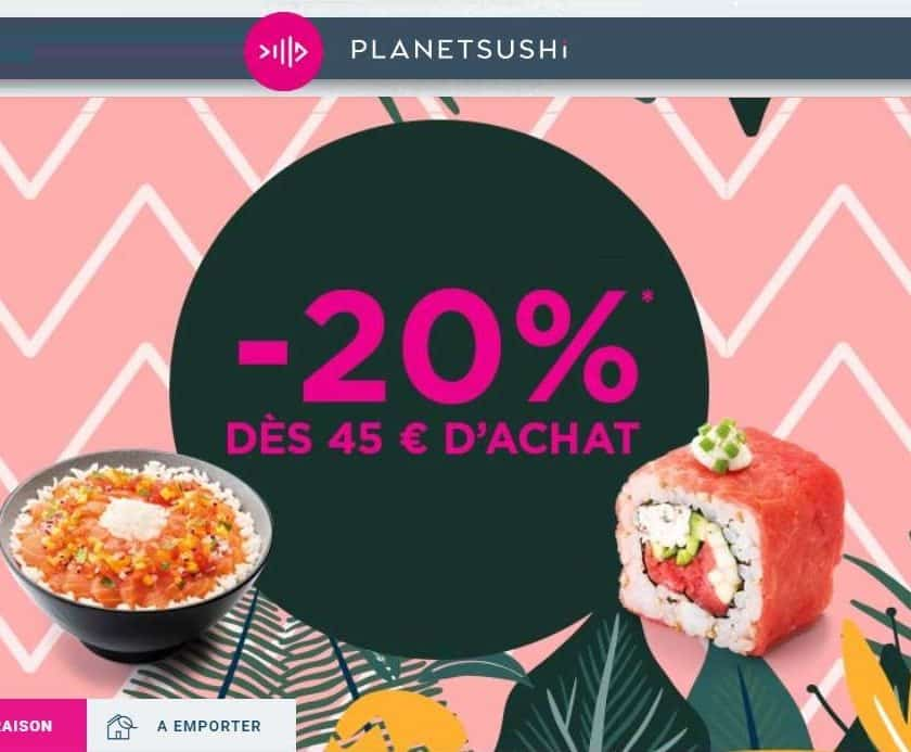 Remise Planet Sushi 20% de réduction