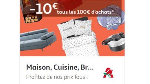 Remise de 10€ sur les cuisine, bricolage, meubles et linge de maison