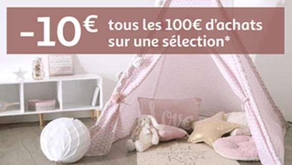 Remise de 10€ sur les meubles et linge de maison
