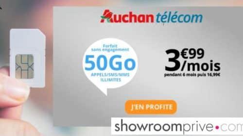 Vente privée forfait Auchan Telecom 50Go à 3,99€