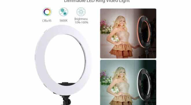 anneau lumineux pour photo et vidéo 18 pouces (luminosité et chaleur reglables, 252 LEDs, 5600K) Andoer
