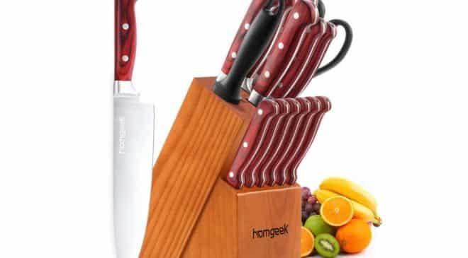 bloc pour couteaux complet avec 12 couteaux + aiguisoir + ciseau Homgeek