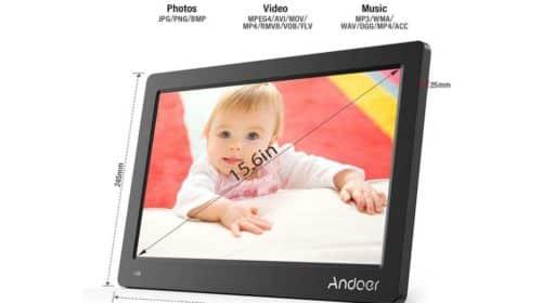 cadre numérique 15,6 pouces Andoer (photo et vidéo avec hautparleur, télécommande, fonctions réveil, calendrier…)