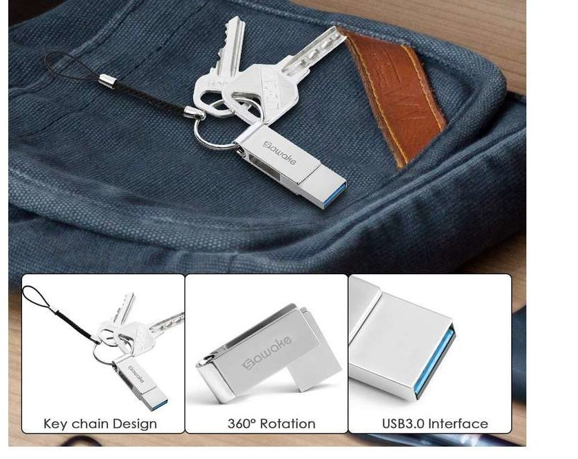 clé USB 3.0 64Go Sawake aluminium sur porte clé pliable