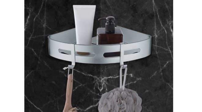 étagère d'angle aluminium AiHom fixation sans perçage