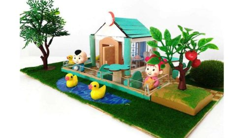 kit maquette maison miniature avec jardin et personnages