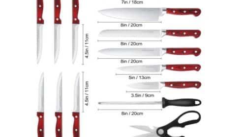 pas cher ensemble de couteaux avec support en bois Homgeek