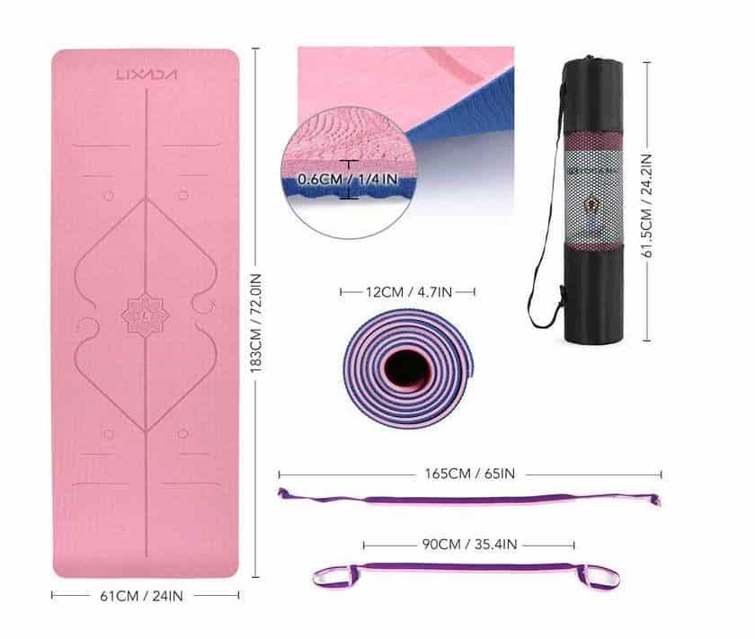 tapis de yoga et fitness double couche avec bandoulière Lixada