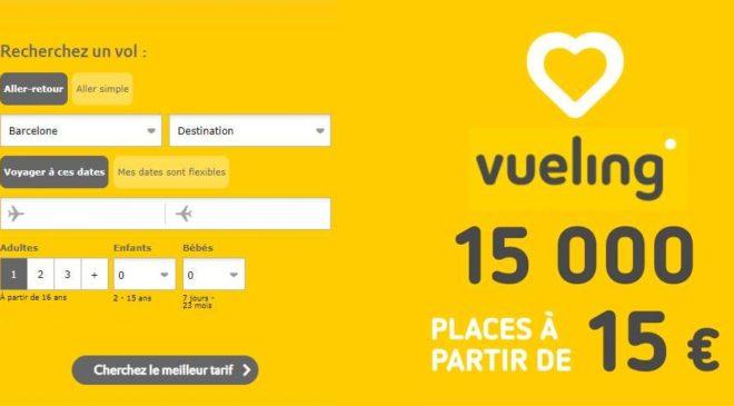15 000 places sur la compagnie aérienne Vueling à partir de 15 €