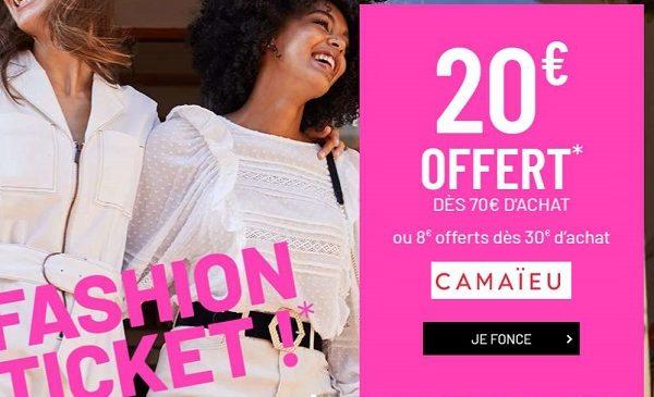 20€ De Réduction Pour Tout Achat Sur Camaïeu D'un Montant De 70€